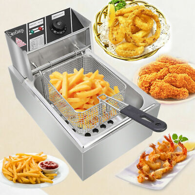 2500w 6.3qt6l Stainless Steel Electric Deep Fryer Home Commercial Restaurant