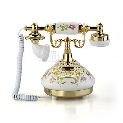 Retro Vintage Antique Style Flower Ceramic Home Decor Desk Telephone Phone