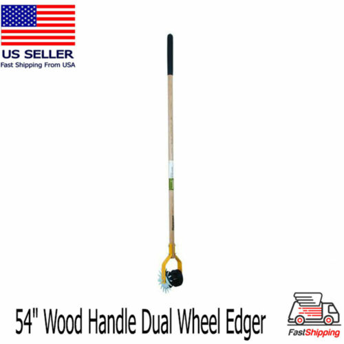 "54"" Long Wood Handle Wheel Edger Trimmer Dual Tread Rotary Shear Serrated Blade"