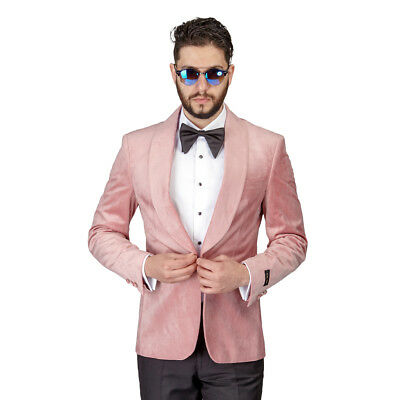 Men Pink Pastel Velvet Tuxedo Blazer Jacket Shawl Lapel 1 Button Slim Fit AZAR  - Pink Tuxedo
