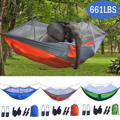 Portable Double Hammock with Mosquito Net Netting Hanging Bed Outdoor Camping US ()