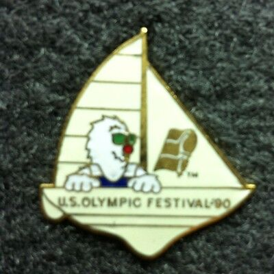 Rare Olympic Pin!  US Olympic Festival 1990 - Sailing Yacht - Mascot -Good cond.