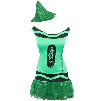 GREEN LADIES CRAYOLA CRAYON COSTUME WOMENS WORLD BOOK DAY OFFICIAL FANCY DRESS