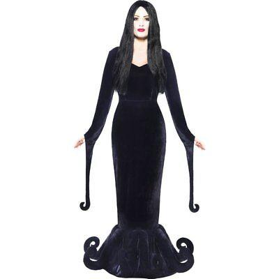 schwarz Morticia Damen Kleid Halloween (Halloween Addams Family)
