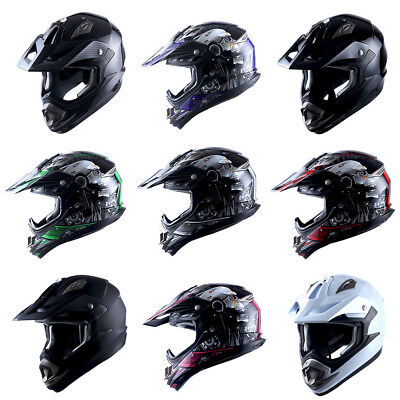 1Storm Adult Motocross Helmet BMX MX Mechanic Skull Black Blue Green Red Orange