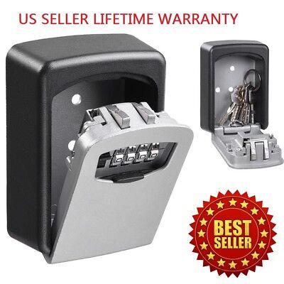 Combination Lock Box Wall Mount (4 Digit Combination Key Lock Box Wall Mount Safe Security Storage Case)