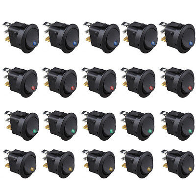 20x Led Light 3 Pin Round Rocker Onoff Toggle Switch For Car Marine Boat Truck