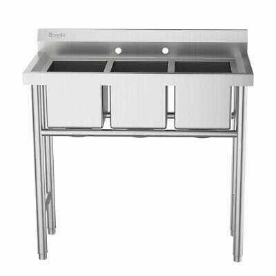 3 Compartment Sink Stainless Steel Utility Kitchen Commercial Laundry Wash Tubs