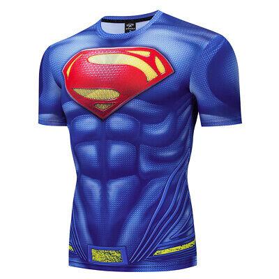 Men's Superman Compression Gym Workout Fitness T-shirt Superhero Costume