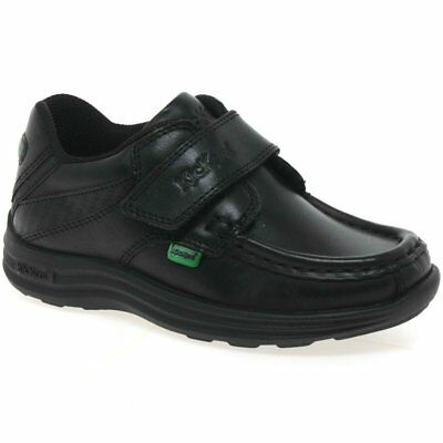 Kickers FRAGMA15 STRAP Infant Boys Smooth Leather Smart School Shoes Black