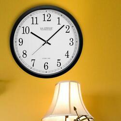 La Crosse Technology 14 in. Atomic Round Analog Black Wall Clock-WT-3143A-INT