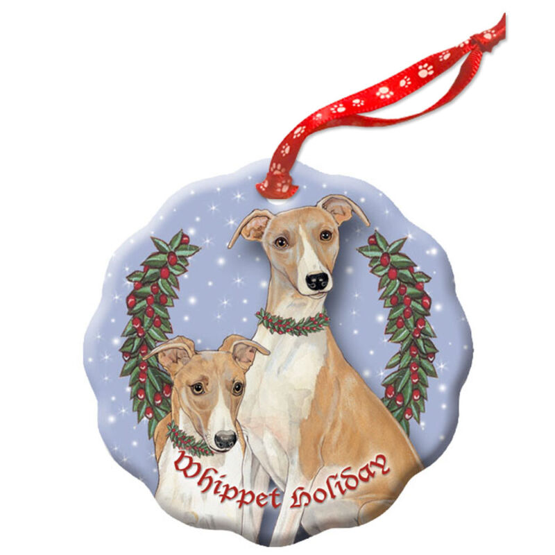 Whippet Holiday Porcelain Christmas Tree Ornament