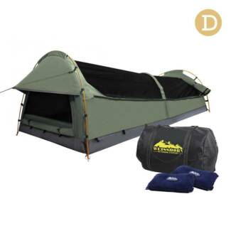 Double Swag Camping Canvas Tent Aluminium Pole Carry Bag Air Pi
