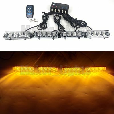 4in1 16 Led Remote Control Amber Flash Strobe Warning Deck Dash Grill Light Bar