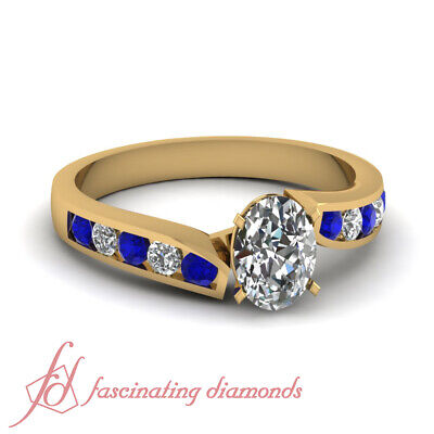 Simple Blue Sapphire & Diamond Yellow Gold Ring With Oval Shaped 0.75 Carat GIA