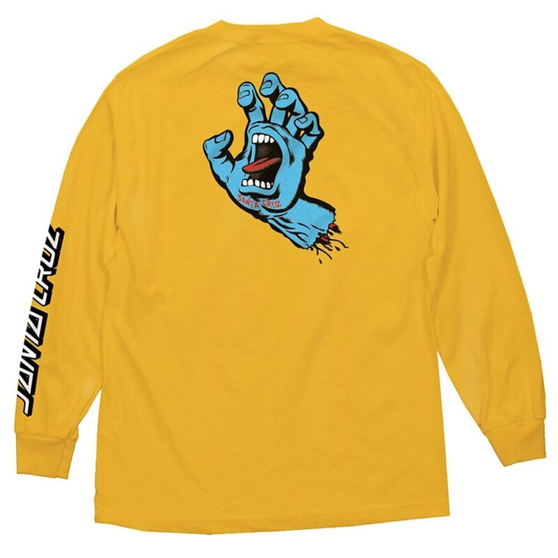 Santa Cruz SCREAMING HAND LONG SLEEVE Skateboard Shirt GOLD LARGE
