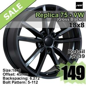 18x8 5-112 VW Volkwagen Replica 75 Wheels, Gloss Black ET45 CB57.1