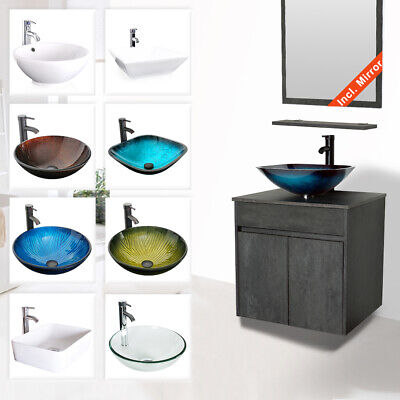 "24"" Bathroom Vanity Sink Combo Wall Mounted Concrete Grey Cabinet Vanity Set Wall Cabinet Set"