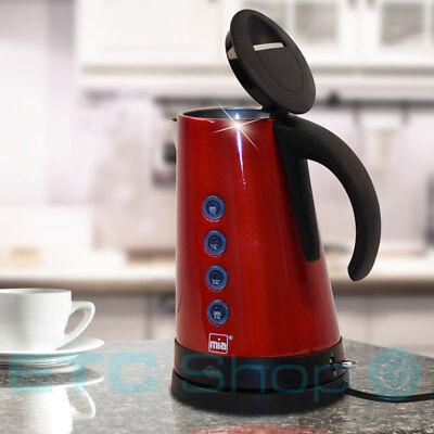 Edelstahl Wasser Kocher 1,7 Liter ROT Schwarz Anzeige Küche schnurlos drehbar