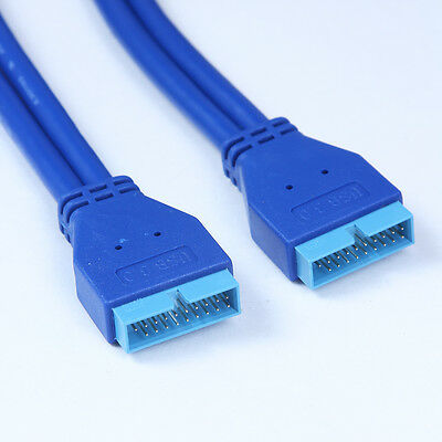 Usb 3.0 placa base 20pin conector hombre en macho 20pin cable extensión...