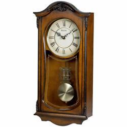 Bulova Clocks Cranbrook Wall Mount Analog Wooden Chiming Clock, Brown (Used)