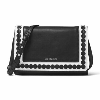 Applique Messenger Bag (Michael Kors Medium Analise Applique Leather Black/White Messenger Shoulder Bag )