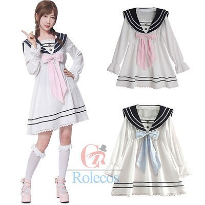 Women Girls Lolita Bowknot Chiffon Dress White Long Sleeve Casual Sailor Dresses