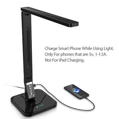 New 14W LED Desk Folding Lamp Fugetek Sleek,USB Port, 4 Modes, Dimmer, 27 LED's