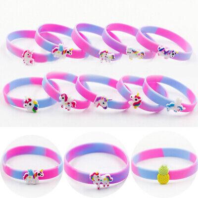 2/10x Silicone Bracelet Unicorn Fruit Wristband Girls Boy Bangles Party Kid Gift (Unicorn Bracelet)