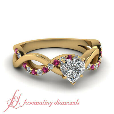 .65 Ct 18K Yellow Gold Heart Shape Diamond Engagement Ring And Pink Sapphire GIA