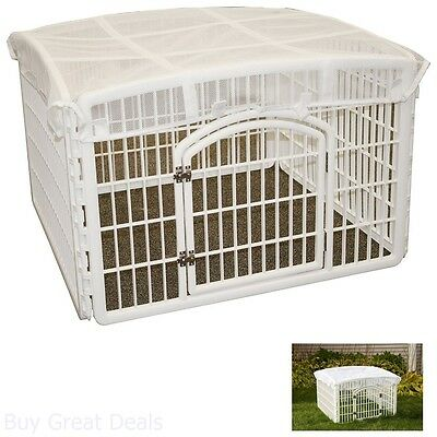 Iris 24 Pet Roof Mesh Playpen Iris Pen Dog Cage Kennel Large Panel, White - Dog Kennel Roof Panel