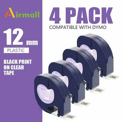 4 Pk 16952 12267 Replace Dymo Letratag Refill Clear Plastic Label Tape 12mm Lt
