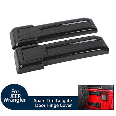 Carbon Fiber Tailgate Spare Tire Hinge Cover Trim For Jeep Wrangler JK 2007-2017