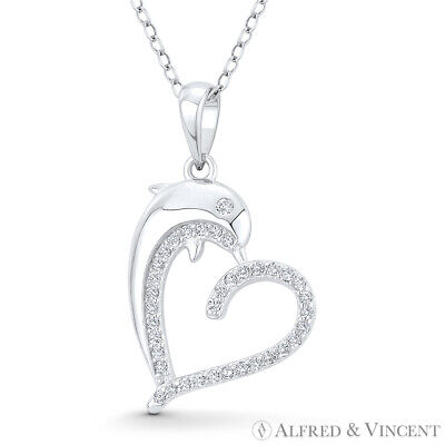 Heart Dolphin CZ Crystal 925 Sterling Silver Rhodium Necklace Pendant Love Charm