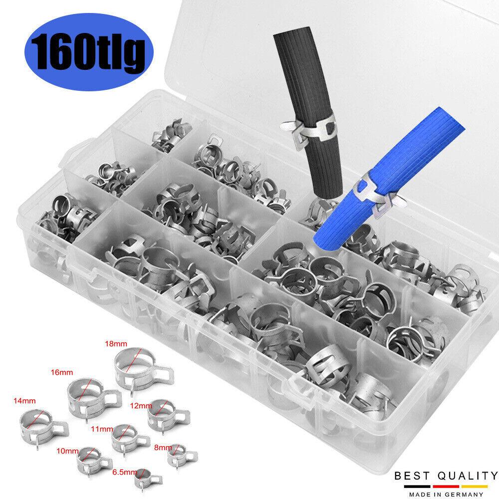 6,5-18mm Kraftstoffleitung Schlauchschellen Wasserrohr Schlauchschelle 160pcs