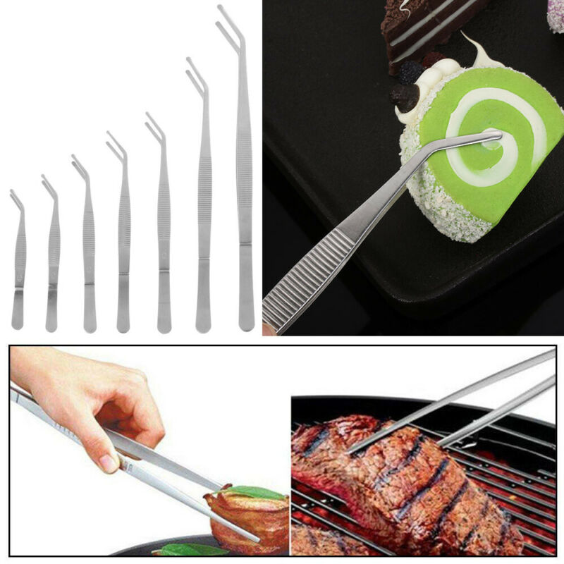 Chef Plating Kitchen Tool Barbecue Tongs Food Tweezer BBQ Clip Stainless Steel
