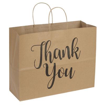 100 Large Kraft Thank You Paper Shopping Bags 16 X 6 X 12 Retail Gift