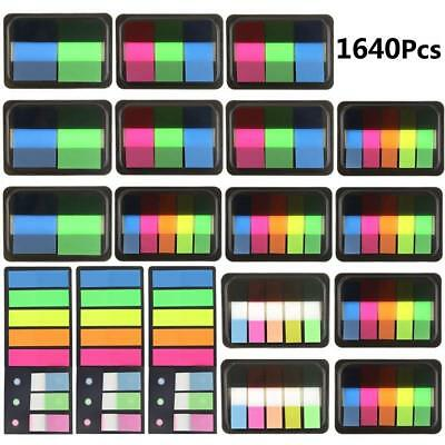 1640pcs 18 Sets Fluorescent Sticky Notes Book Page Marks Index Tabs Note Pads