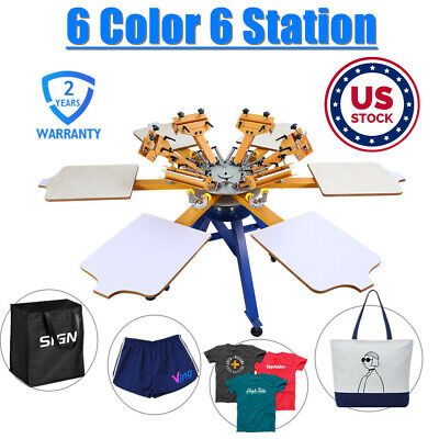 Us Stock 6 Color 6 Station Screen Printing Machine Press Tshirt Printer Carousel
