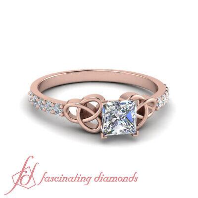 14k Celtic Engagement Ring - Princess Cut Diamond Petite Celtic Knot Engagement Ring In 14K Rose Gold 0.60 Ct