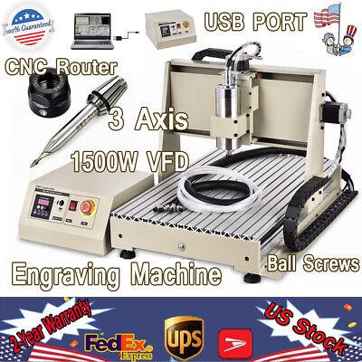 Usb 3 Axis 1.5kw Vfd Cnc 6040 Router Engraver Drill Artwork 3d Cutter Desktop Us
