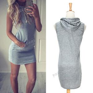 Sexy-Womens-Sleeveless-Party-Evening-Summer-Beach-Short-Hooded-Mini-Dress-Gray