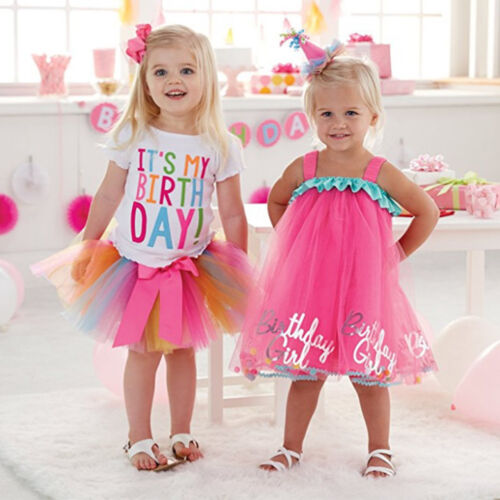 Its My Birthday Outfit Toddlers Kids Girls Colourful Tutu Skirt Princess Dress