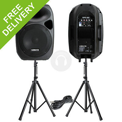 "POWERFUL 12"" ACTIVE DISCO PA SPEAKERS MOBILE DJ PORTABLE SOUND SYSTEM STANDS"