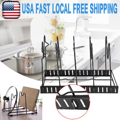 5 Tier  Pot and Pan Cabinet Organizer Kitchen Rack Holder Storage Kit Divider US