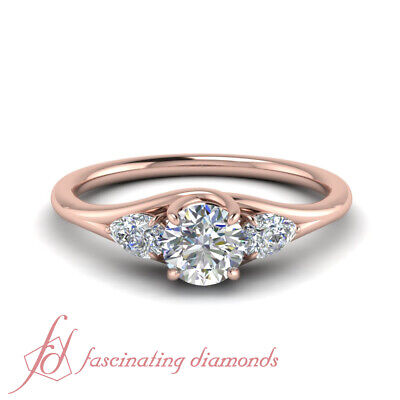 1.25 Carat Round Cut 3 Stone Pear Accented Diamond Engagement Ring In Rose Gold
