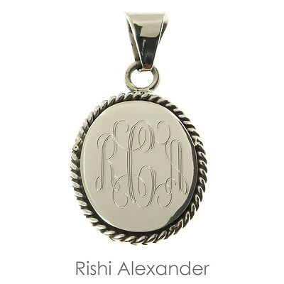 925 Sterling Silver Oval Rope Edge Monogram Personalized -