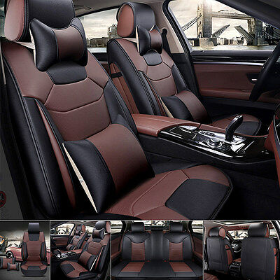 US 5-Seats Car Seat Cover Front+Rear Microfiber Leather Cushion W/Pillow Coffee