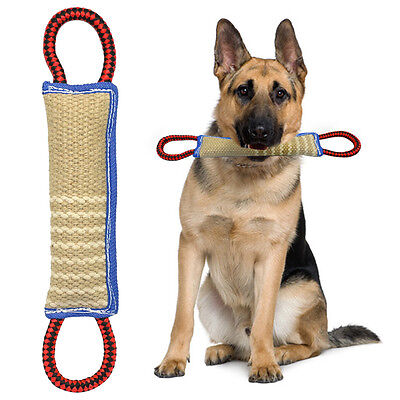 Durable Jute Large Dog Training Bite Tugs Toy with 2 Handles for Police Dogs