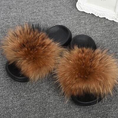 Women Summer Furry Sliders Raccoon Fur Slippers Slides Wider Fur EVA Sole 56046](Furry Raccoon)